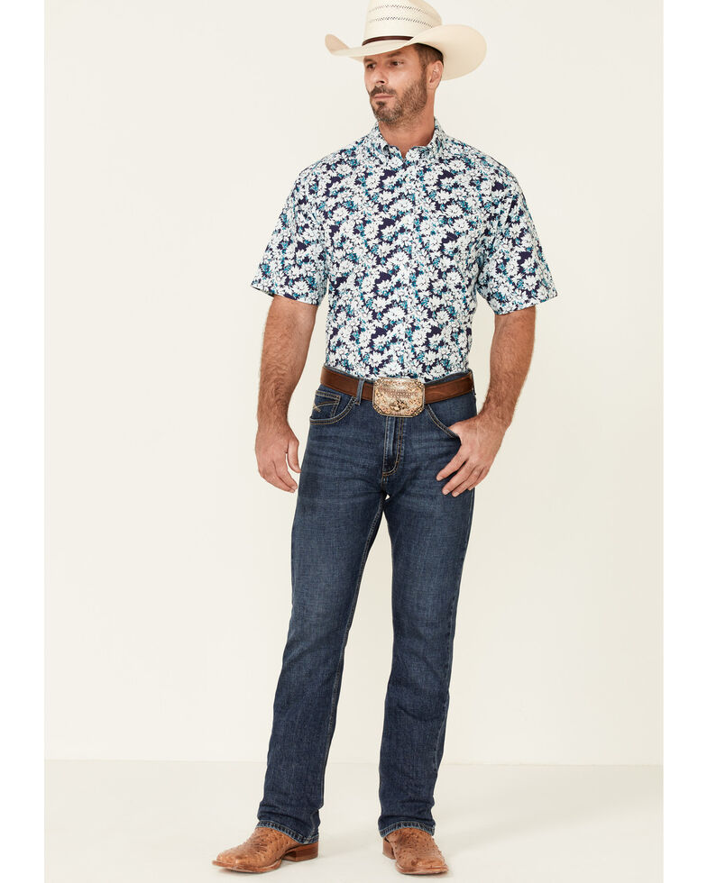 Ariat Men's Pari Floral Print Short Sleeve Button-Down Western Shirt , Multi, hi-res