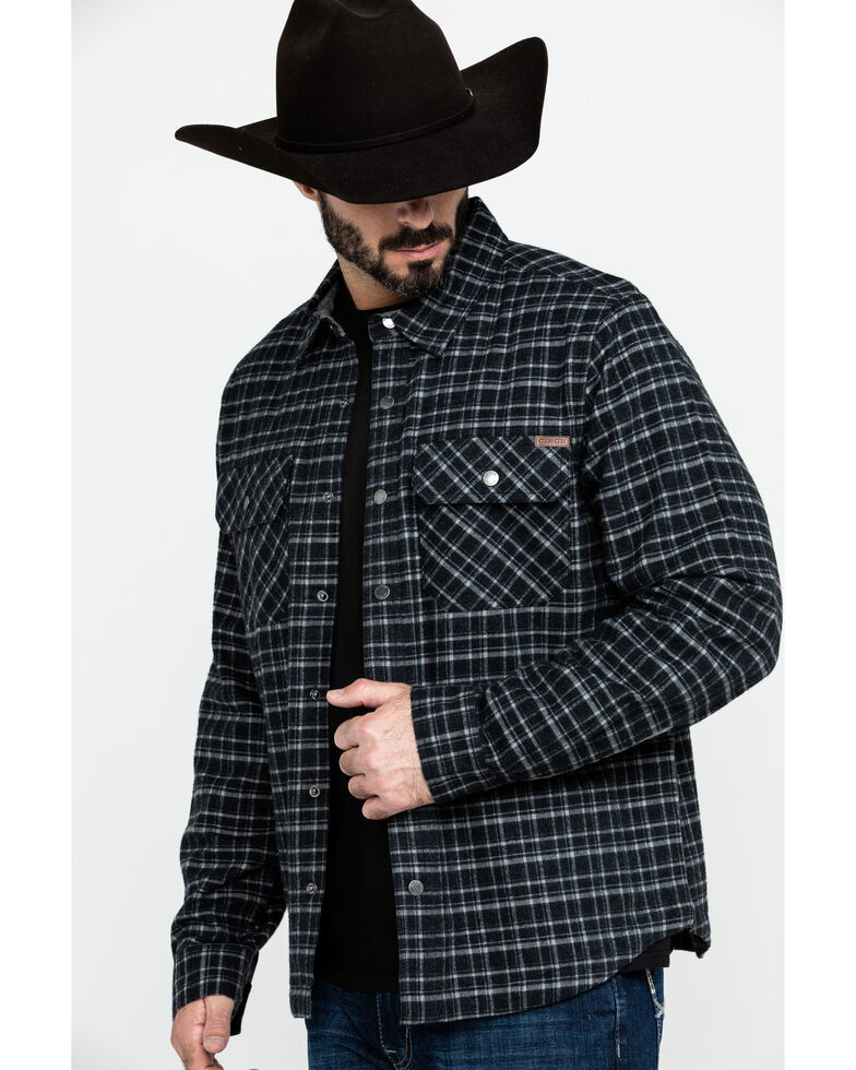 Cinch Men's Black Check Twill Plaid Shirt Jacket, Black, hi-res