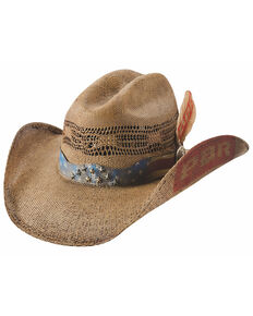 Bullhide Distresssed Pecan PBR Bangora Western Straw Hat , Pecan, hi-res