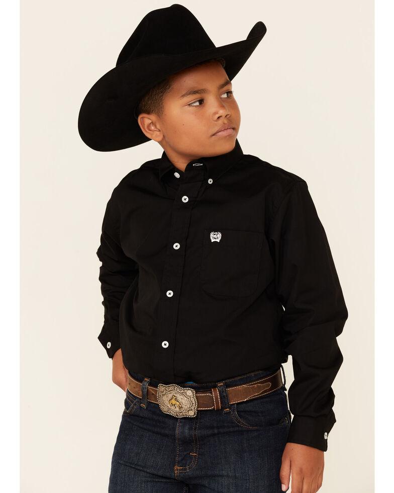 Cinch  Boys' Black Long Sleeve Shirt, Black, hi-res