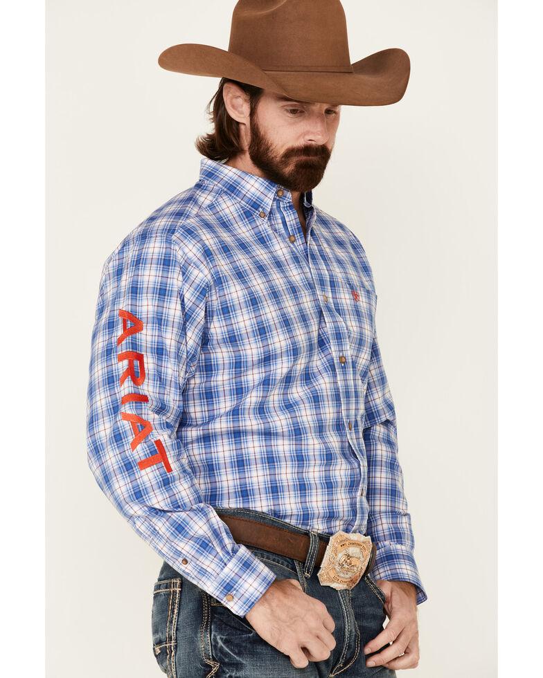 Ariat Men's Blain Team Plaid Long Sleeve Button-Down Western Shirt , Blue, hi-res