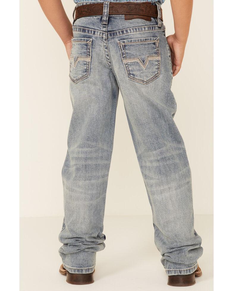 Rock & Roll Denim Boys' Light Vintage Wash V Patch Bootcut Jeans , Indigo, hi-res