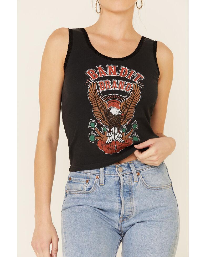 Bandit Women's Bandit Brand Eagle Graphic Lace Trim Tank Top , Black, hi-res