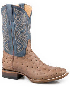 Roper Men's Embossed Ostrich Western Boots - Square Toe, Tan, hi-res
