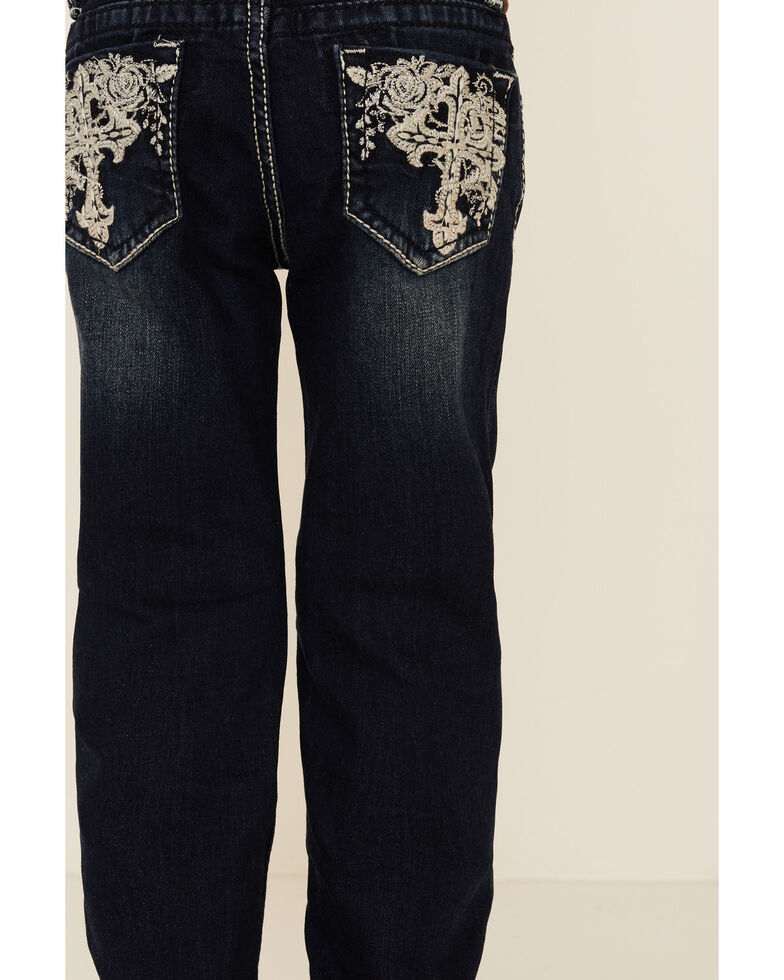 Grace In LA Girls' Dark Wash Cross Back Pocket Stretch Bootcut Jeans, Blue, hi-res