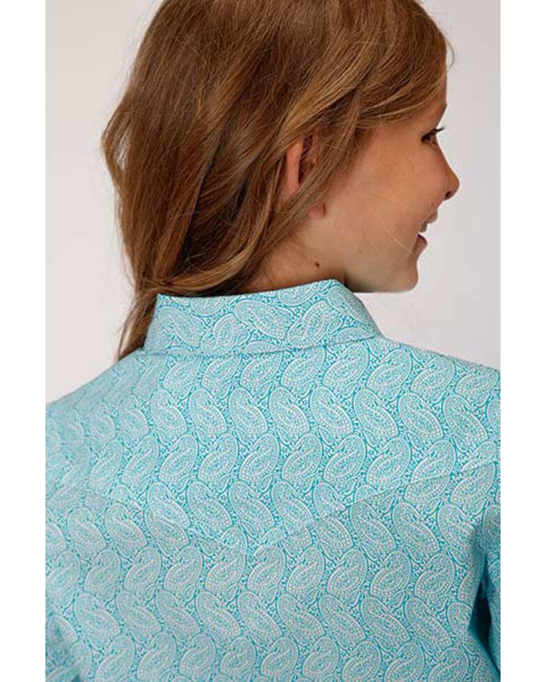 Amarillo Girls' Turquoise Paisley Snap Long Sleeve Western Shirt , Turquoise, hi-res