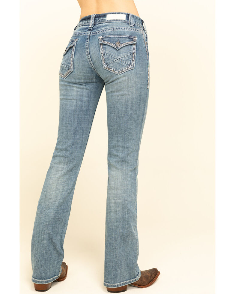 Rock & Roll Cowgirl Women's Light Faux Pocket Bootcut Jeans , Blue, hi-res