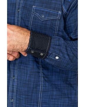 Rock 47 By Wrangler Medium Plaid Embroidered Long Sleeve Western Shirt  , Black/blue, hi-res