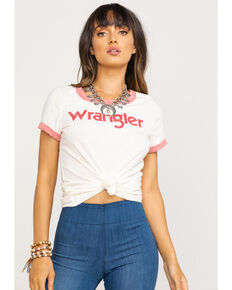 Wrangler Women's White and Red Ringer T-Shirt , White, hi-res