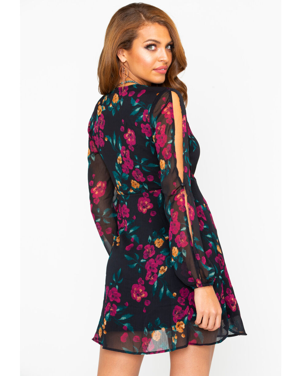 Others Follow Women's Floral Surplice Slit Sleeve Dress , Black, hi-res