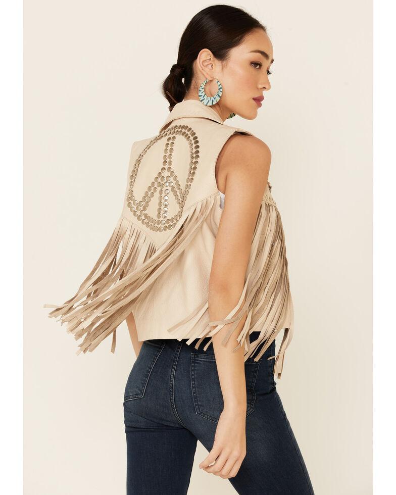 Understated Leather Women's Tan Suede Peace Zip-Front Vest, Cream, hi-res