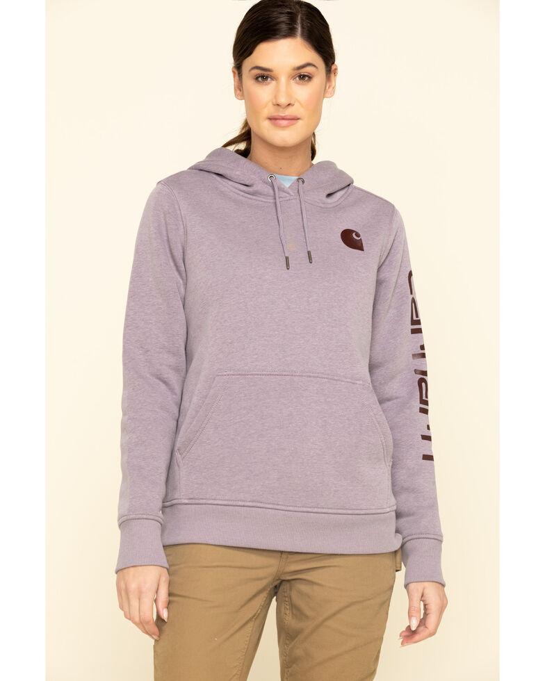 Carhartt Women's Heather Grey Clarksburg Logo Hoodie Sweatshirt, Heather Grey, hi-res