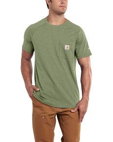 Carhartt Men's Green Force Cotton Delmont Short Sleeve Work T-Shirt - Big , Heather Green, hi-res