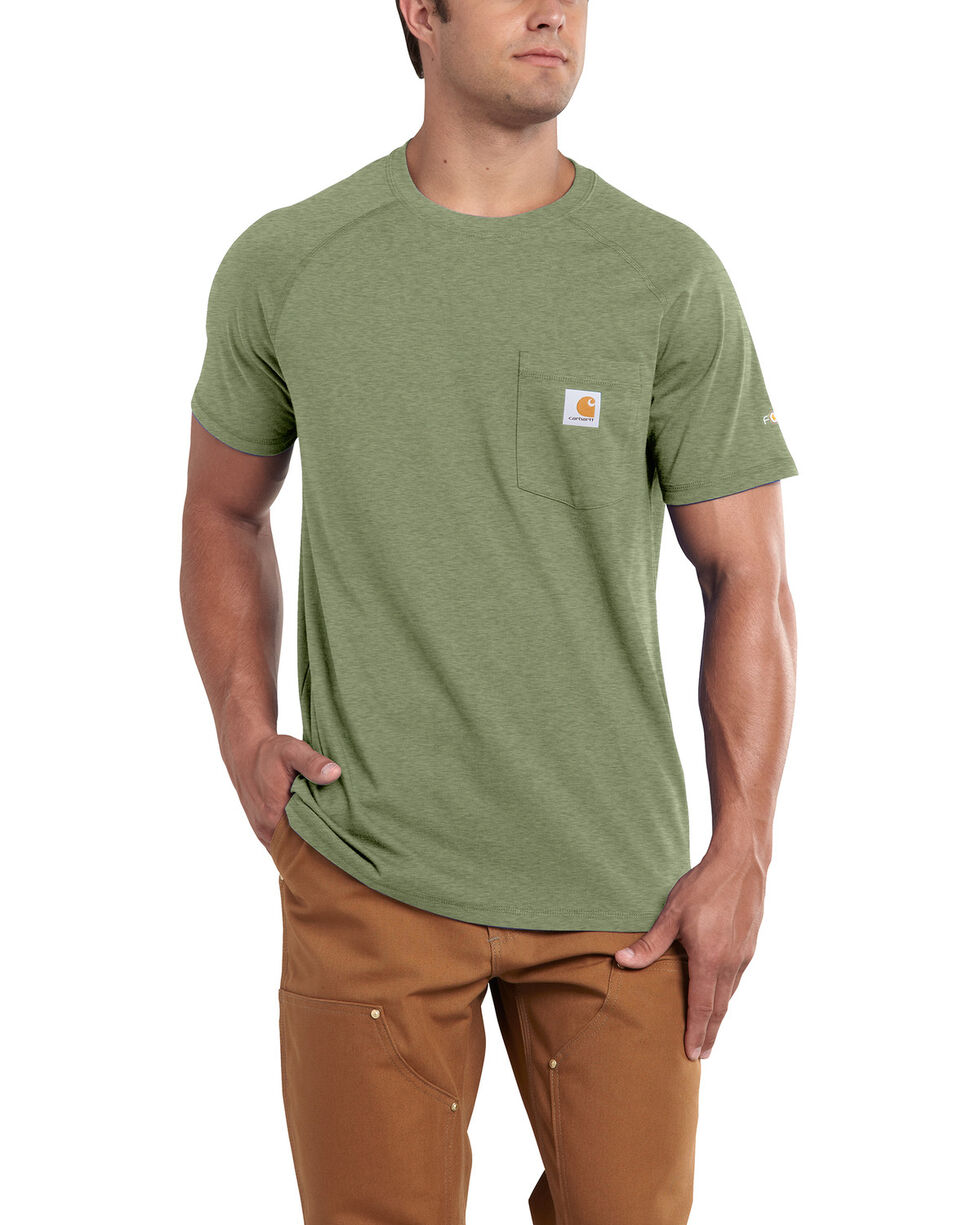 Carhartt Men's Green Force Cotton Delmont Short Sleeve Work T-Shirt - Big , Heather Green, hi-res