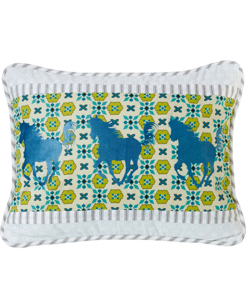 HiEnd Accents Multi Horse Embroidery Pillow, Multi, hi-res