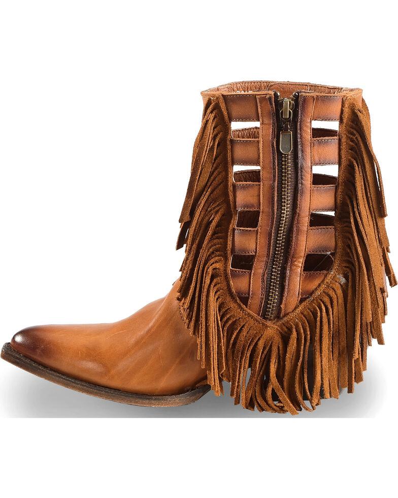 "Dan Post Women's 6"" Caged Fringe Western Booties - Medium Toe, Brown, hi-res"