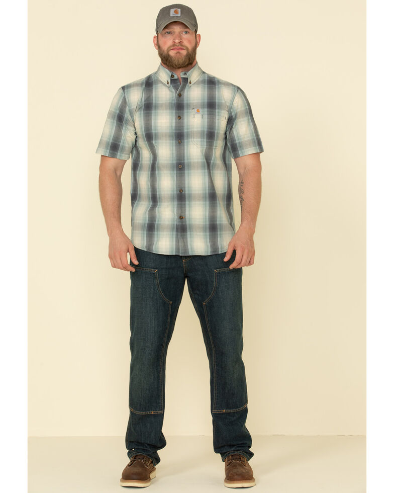 Carhartt Men's Blue Rugged Flex Bozeman Plaid Short Sleeve Work Shirt - Big , Blue, hi-res