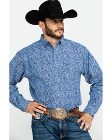 Ariat Men's Urbrick Stretch Paisley Print Long Sleeve Western Shirt - Tall , Blue, hi-res