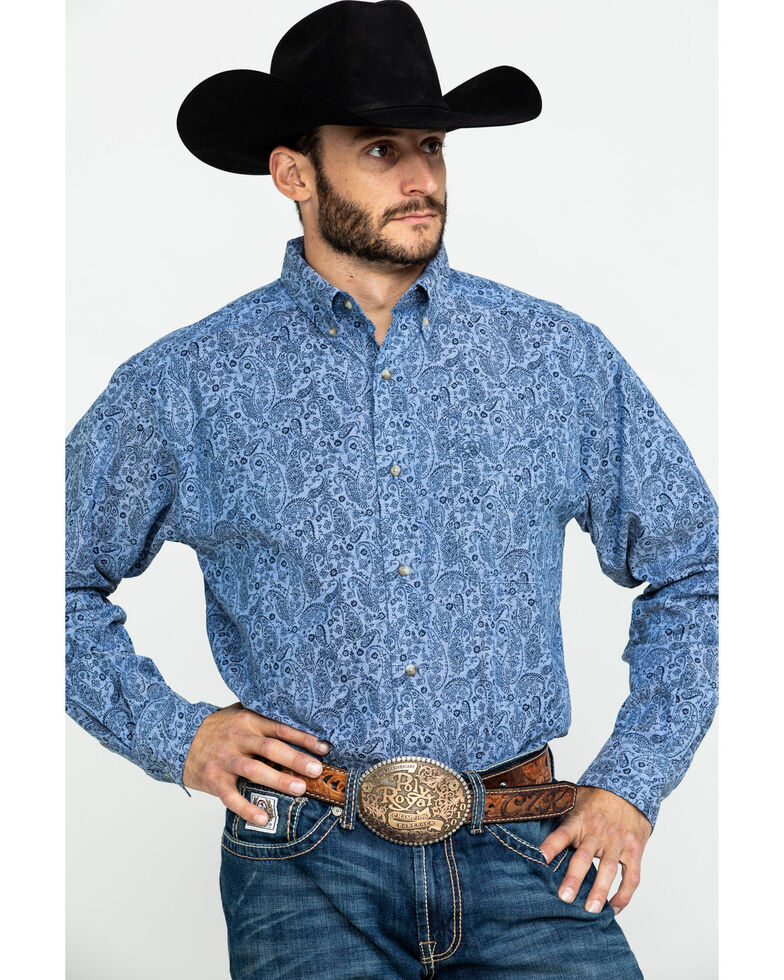 Ariat Men's Urbrick Stretch Paisley Print Long Sleeve Western Shirt - Tall , Blue, hi-res