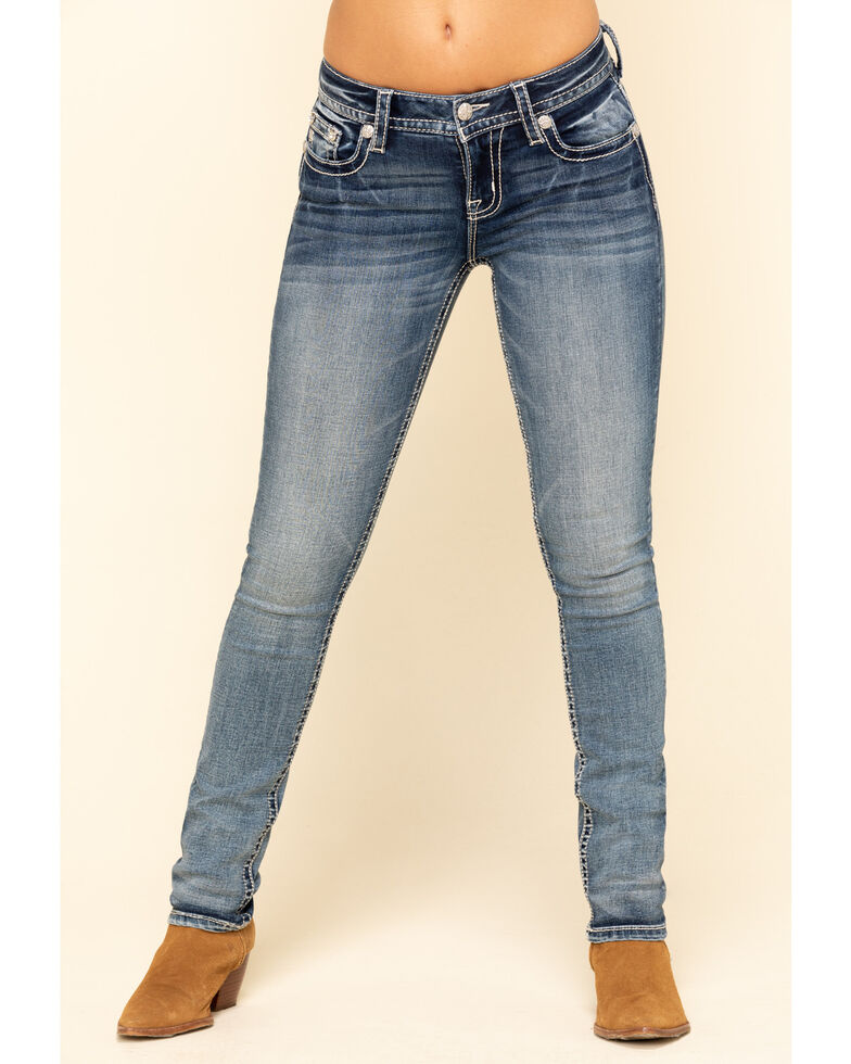 Miss Me Women's White Angel Wing Straight Jeans, Blue, hi-res