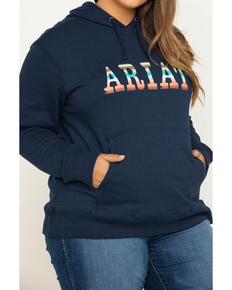 Ariat Women's Navy R.E.A.L. Serape Logo Hoodie -Plus, Navy, hi-res