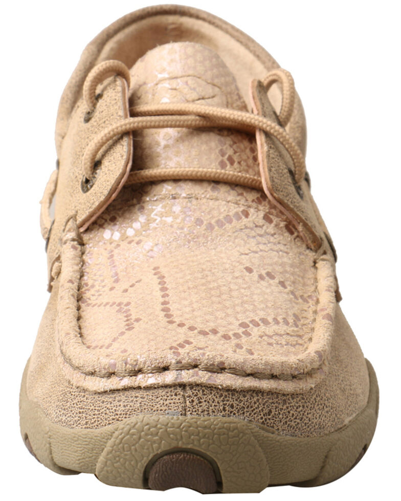 Twisted X Women's Snake Print Driving Shoes - Moc Toe, Tan, hi-res