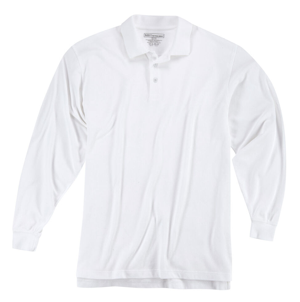 5.11 Tactical Professional Long Sleeve Polo Shirt - 3XL, White, hi-res
