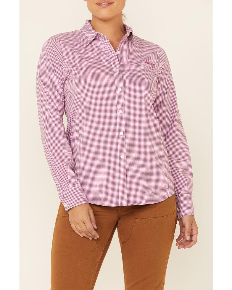 Ariat Women's Violet Plaid Tek II Long Sleeve Button-Down Western Core Shirt , Violet, hi-res