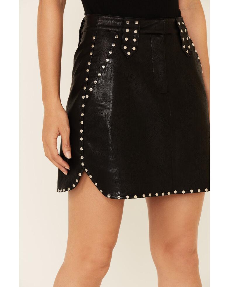 Mink Pink Women's Embellished Faux Leather Skirt, Black, hi-res