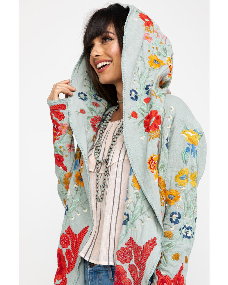 Johnny Was Women's Wysen Hooded Duster, Moss Green, hi-res