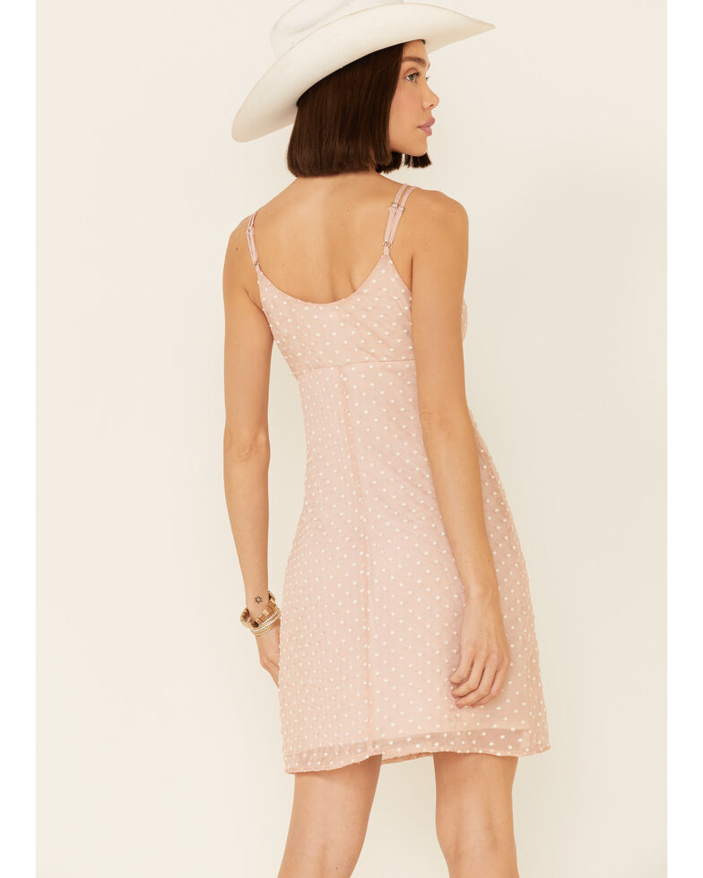 Miss Me Women's Dobby Dot Scrunch Strappy Dress, Blush, hi-res