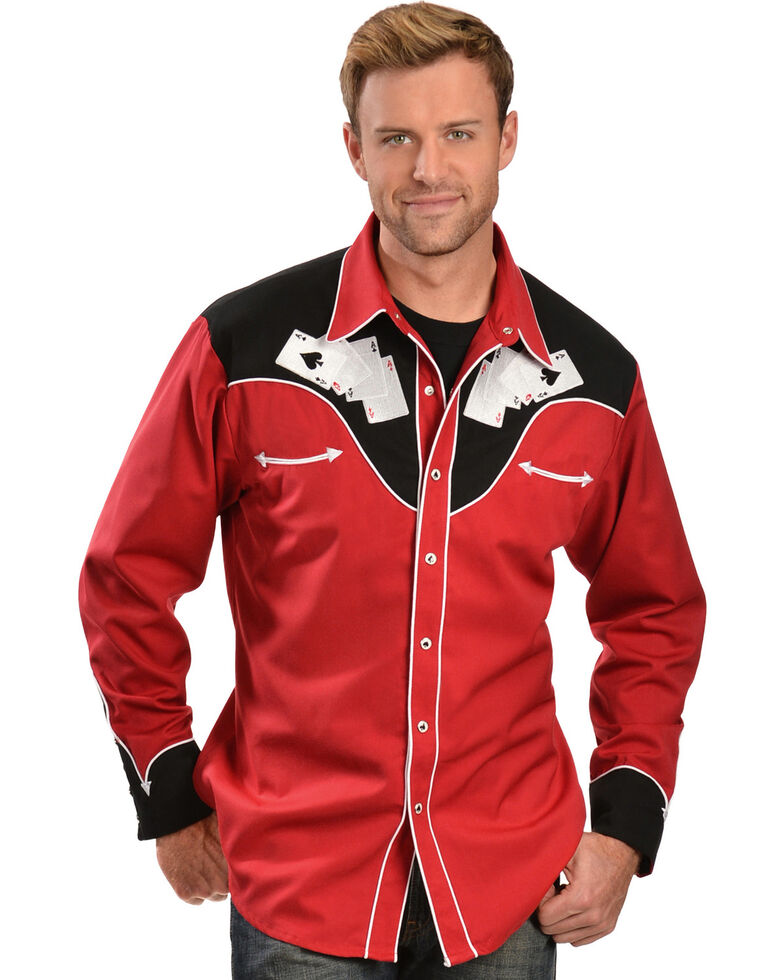 Scully Poker Cards Embroidery Retro Western Shirt, Red, hi-res