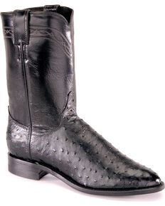 Justin Full Quill Ostrich Roper Boots - Medium Toe, Black, hi-res