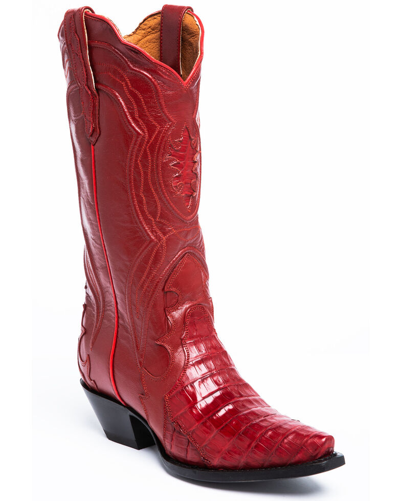 Dan Post Women's Red Belly Caiman Western Boots - Snip Toe, Red, hi-res
