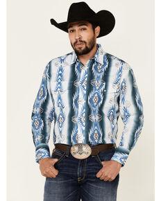 Wrangler Men's Blue Aztec Checotah Long Sleeve Western Shirt , Blue, hi-res