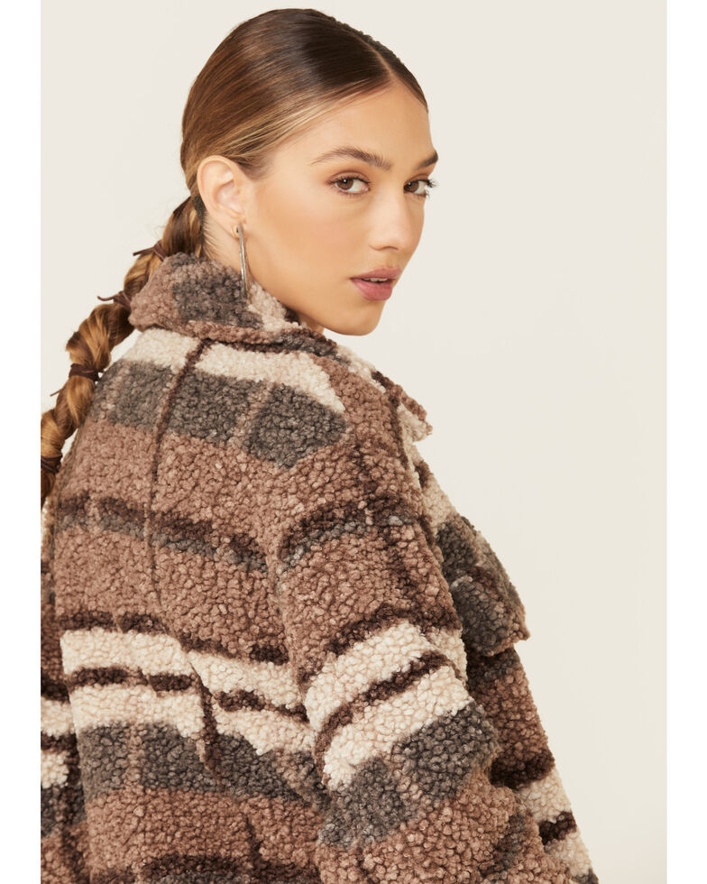 26 International Women's Brown Plaid Sherpa Zip-Front Jacket , Brown, hi-res