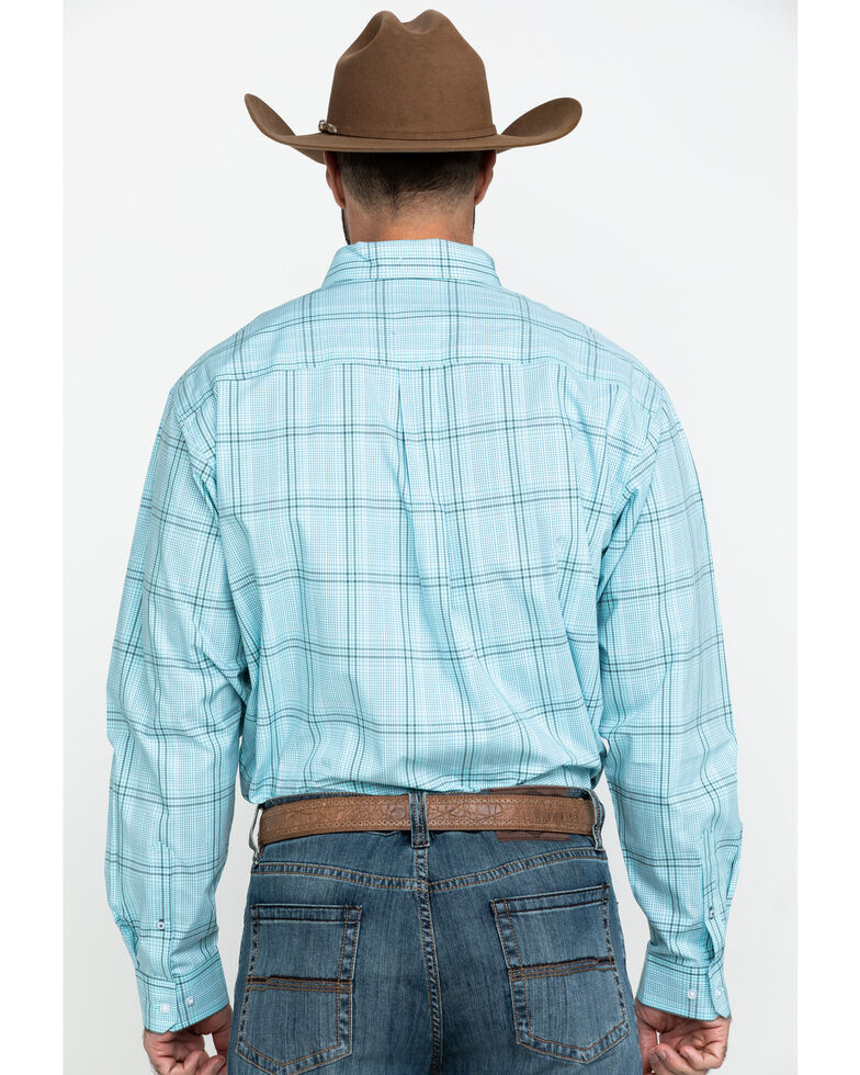 Cinch Men's Light Blue Large Plaid Long Sleeve Western Shirt , Light Blue, hi-res