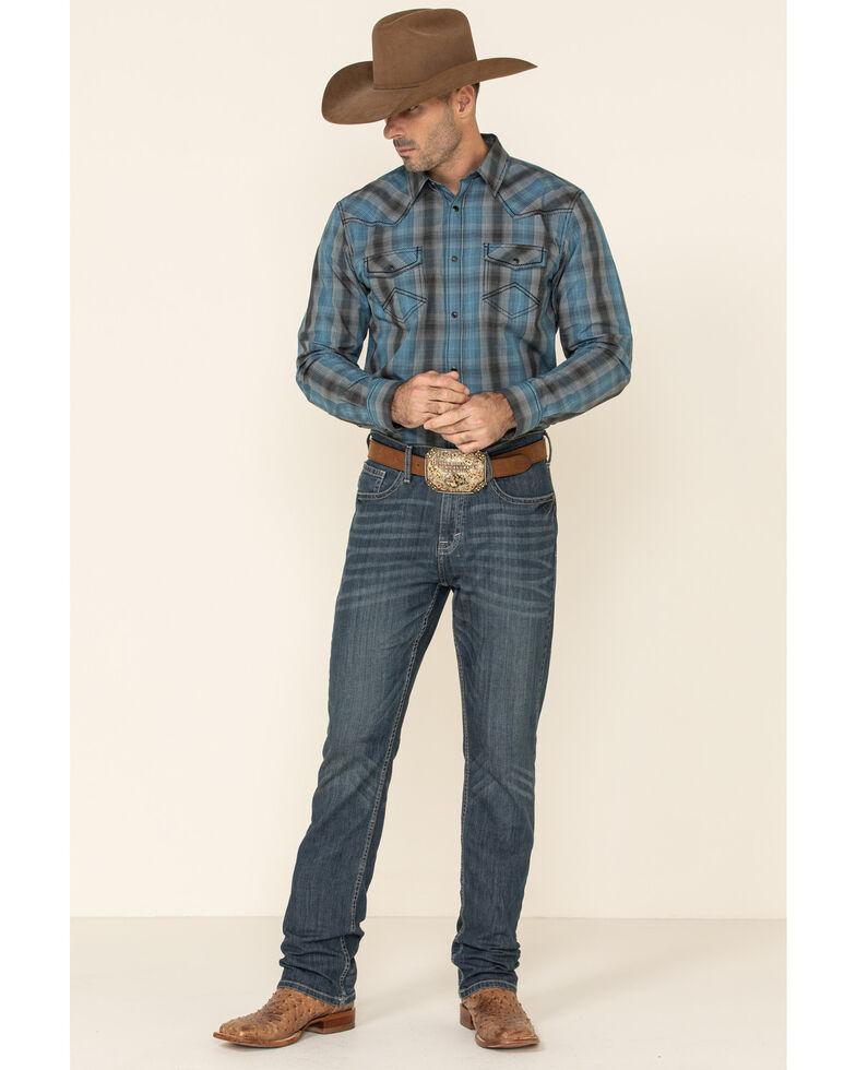 Cody James Men's Morning Fog Plaid Long Sleeve Western Shirt - Big , Blue, hi-res