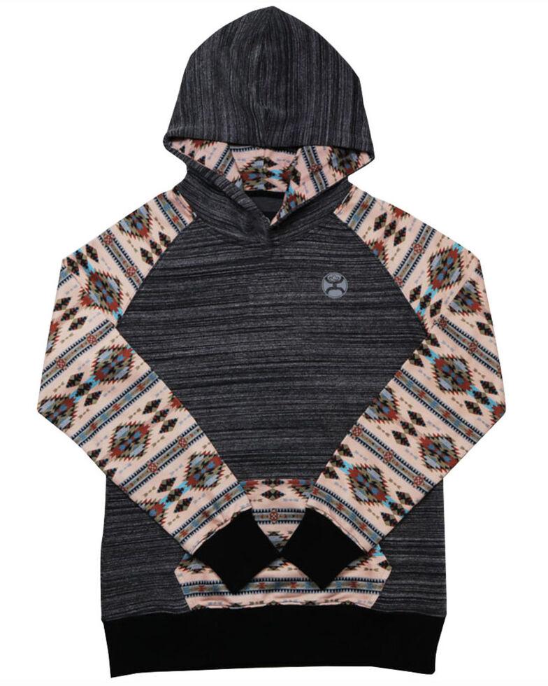 HOOey Girls' Black & Pink Aztec Print Sleeve Hooded Sweatshirt , Black, hi-res