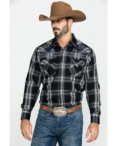 Ely Cattleman Men's Assorted Multi Embroidered Large Plaid Long Sleeve Western Shirt, Multi, hi-res