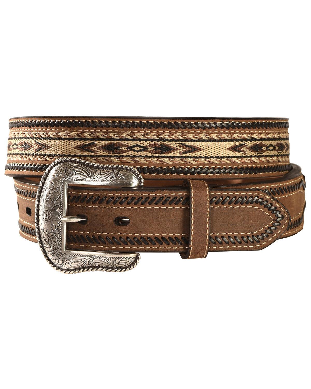N2487644 Nocona Aztec Horsehair Inlay Leather Belt
