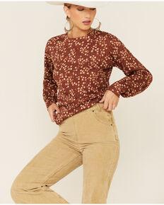 Wrangler Women's Rust Ditsy Floral Print Long Sleeve Peasant Top , Rust Copper, hi-res