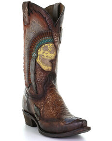 Corral Men's Brown Indian Skull Overlay Western Boots - Snip Toe, Brown, hi-res