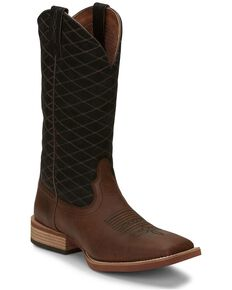 Justin Men's Cattler Brown Western Boots - Wide Square Toe, Brown, hi-res