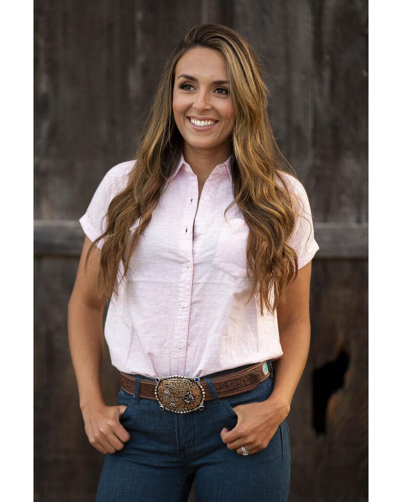 Kimes Ranch Women's Blush Ranchester Short Sleeve Button-Down Western Shirt, Blush, hi-res