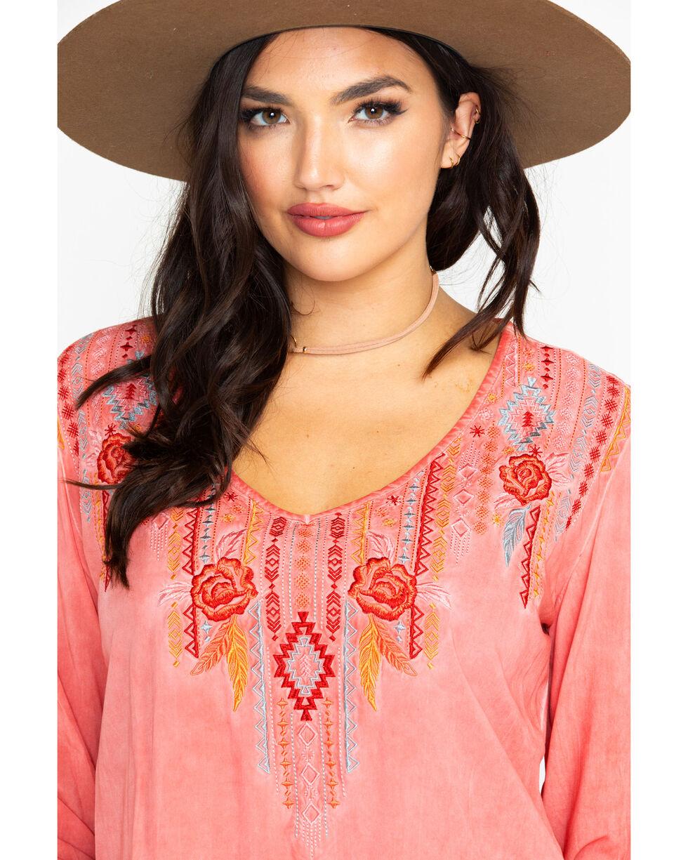 Panhandle Women's Aztec Coral Rose Long Sleeve Top, Coral, hi-res
