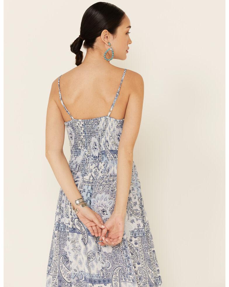 Angie Women's Paisley Keyhole Maxi Dress, Blue, hi-res