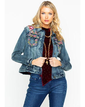 Grace In LA Women's Floral Embroidered Denim Jacket , Indigo, hi-res