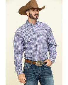 Ariat Men's Ingham Stretch Small Plaid Long Sleeve Western Shirt , White, hi-res
