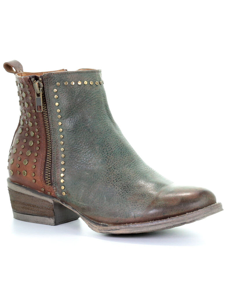 Circle G by Corral Women's Green & Brown Studded Fashion Booties - Round Toe, Green, hi-res